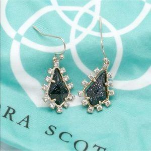 Kendra Scott Juniper black dark blue earrings NWT